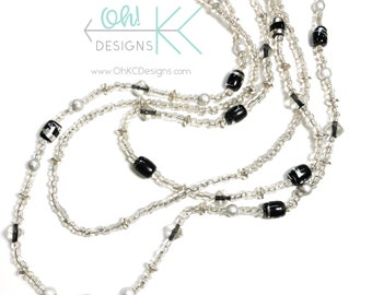 Necklace - 3 strand in black, clear, silver
