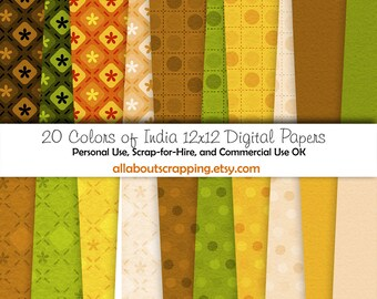 "12"" by 12"" COMMERCIAL Use Digital Scrapbooking Paper - Colors of India Digital Papers - Instant Download"