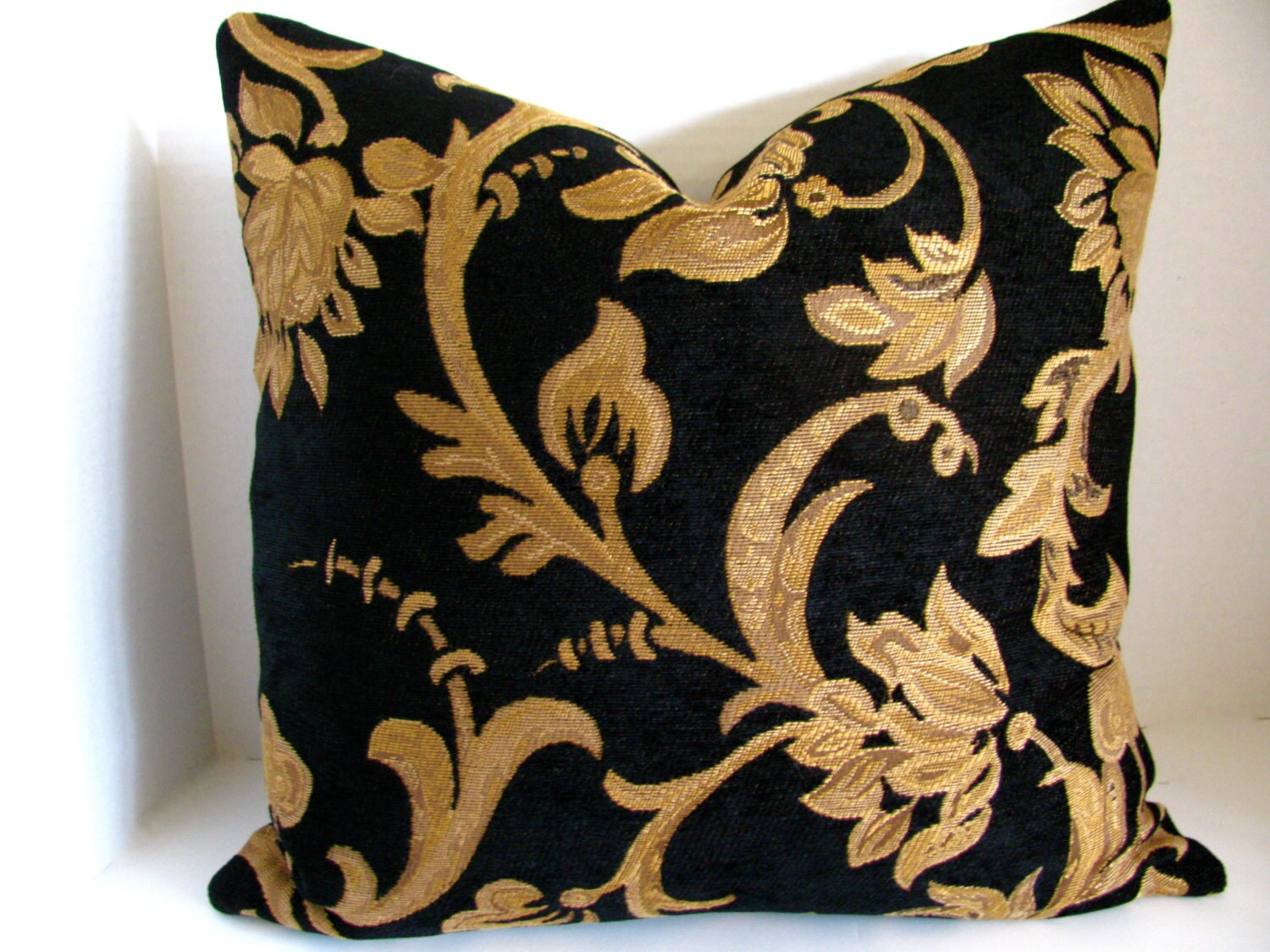 18x18 Black and Gold Scroll High End Chenille Tapestry Pillow