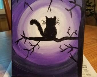 Fluffy cat in moonlight 8x10