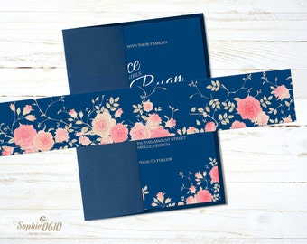 Printable Belly Band for navy blue floral wedding invitation set, Instant download