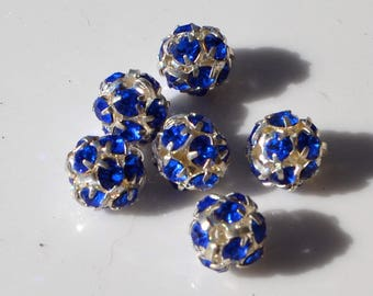 Silver and Cobalt Blue Rhinestone Ball Beads  6