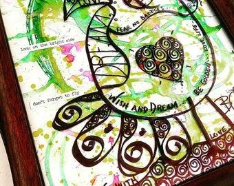 Mixed Media, Painting, Inspirational, Bird of Virtue, Virtue, Abstract Painting, Art on Plexiglass, Marker, Gift, Art, One of Kind, Bird