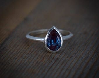 Alexandrite Ring, Pear Shaped Ring Sin Silver, June's Birthstone Ring, Handmade Nickel Free Silver White Sapphire and Alexandrite Jewelry,