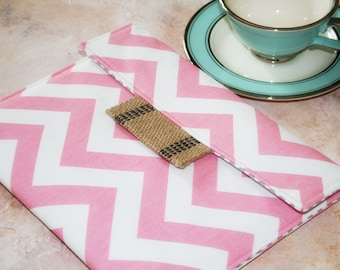 Kindle Cover Padded, Kindle Case, Nook Cover , Ereader Case, Custom Sleeve in Sweetie Chevron