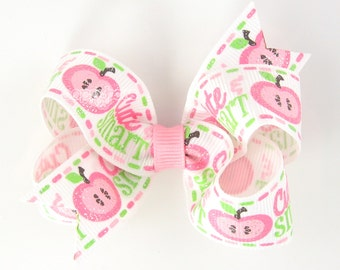 """Back To School Hair Bow, pink hair bow, apple hair bow, 3"""" 3 inch hair bow, girls hair bow, school hair bows, school hairbows cute and smart"""