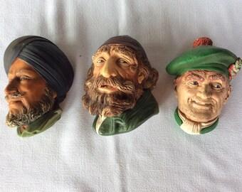 Vintage Bossons figurines wall ornaments old fisherman Fagin Sikh Jock Scotsman