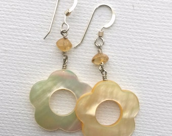 Yellow Flower Earrings. Natural Mother of Pearl, Citrine and Sterling Silver Earrings