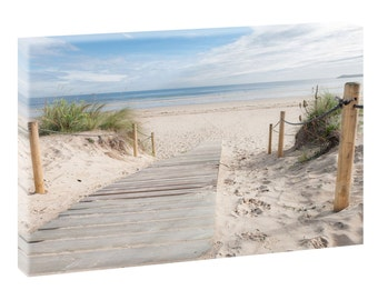 Way to beach picture Beach sea Wedge Frame Canvas Poster XXL 120 cm * 80 cm 624