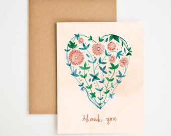 Gratitude Greeting Card, Thank You Card, Plant Prints, Watercolor Art Print, Gift for Women, Gift-for-Mom, Nature, Meera Lee Patel