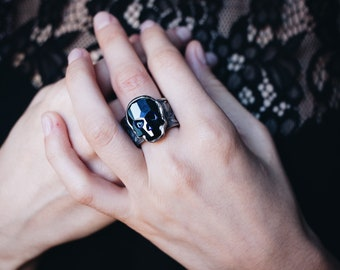 Skull Ring Sterling Silver with Art Nouveau Style Roses Band Memento Mori Mourning Gothic Ring Goth Jewelry Punk