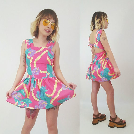 Vintage Pink Floral Mini Dress XXS - Extra Small Minidress Open Back Tropical Sundress - Tie Back Spring Summer Cute Floral Sun Dress XS
