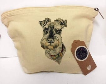 Schnauzer makeup bag, miniature schnauzer gifts, cute schnauzer print, colourful schnauzer pis ring, schnauzer gift for her, quirky cosmetic