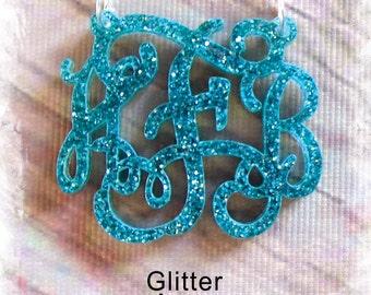 Acrylic Monogram Jewelry - Vine Monogram 3 Initial Name Custom Monogram Necklace - Glitter Necklace , Valentine gift