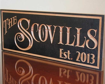 Personalized Last Name Wood Sign, Established Sign, Custom Wood Sign, Wedding Established Sign, Benchmark Custom Signs, Maple RY