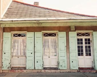 new orleans art french quarter architecture photography blue shutters decor cottage home decor