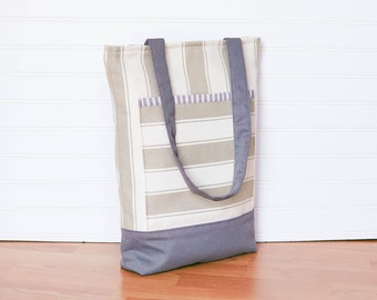 striped light green / ikat print / sage tote bag