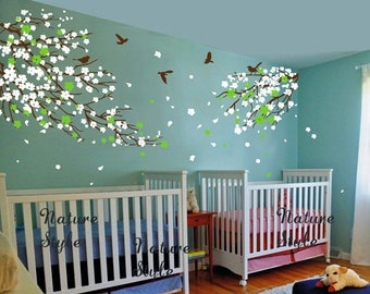 FREE SHIPPING - cherry blossom Floral with Flying Birds - tree wall decal bedroom children baby girl boy nursery room wall decal flower