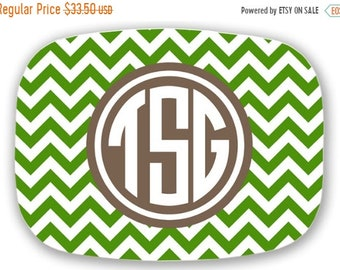 Memorial Day Sale Personalized Melamine Platter - chevron monogram platter