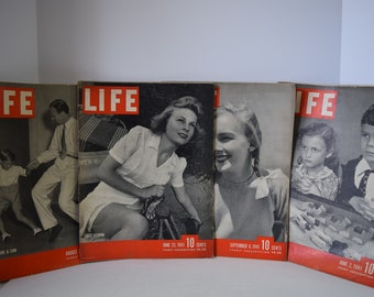 Lot of 4 Life Magazines- Great History, Ads, and Pictures! 1942
