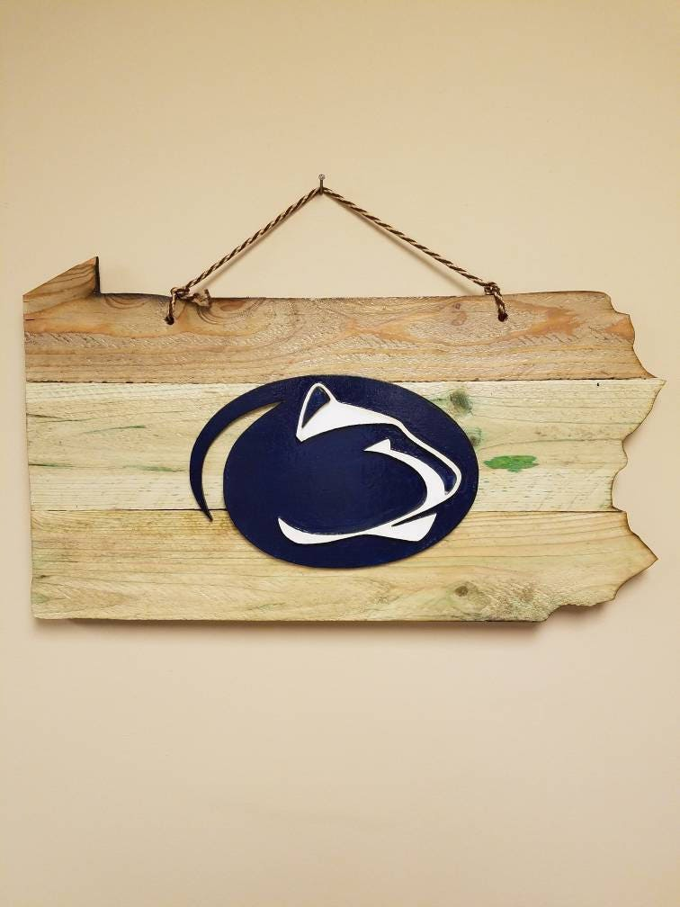 Penn State Hanging Wood Cut Sign Pa shaped Solid Raised Logo