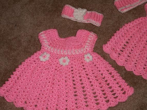 Baby Flower Dress Hat Headband Crochet Pattern Newborn Month