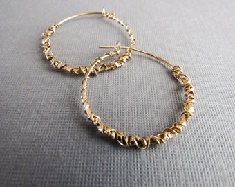 Wire Wrapped Gold  Hoop Earrings, gold hoops, hoop earrings