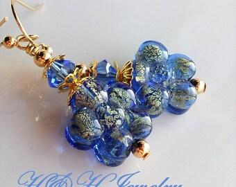 Murano Glass Earrings, Blue Glass Earrings, Murano Blue Drop Earrings, Gold Blue Murano Jewelry, Gift For Her, Blue Jewelry, Murano Glass