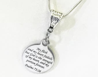 Scripture Necklace Gift, Psalms Necklace, Bible Verse Jewelry, God Is My Strength Necklace, Scripture Jewelry Gift For Her, Sympathy Gift