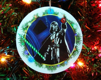 STAR WARS Darth Vader Christmas Ornament, Christmas Decoration, 4inch round, fine art print, laminated (Green candy cane saber)