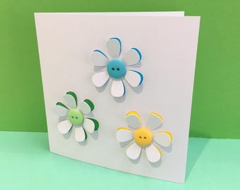Button Flowers Card - Handmade Greeting Card - Paper Cut Flowers - Blank Card - Birthday Card - Thank you Card -Personalised Card - Etsy UK