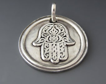 Sterling Silver Hand of God Charm / Silver Hamsa Hand Pendant /  Lucky Mojo / Protection Charm  / Luck & Good Fortune  / Gifts for Her
