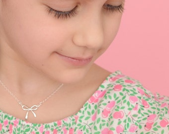Bow Necklace, Sterling Silver ribbon necklaces, birthday, little girls gifts, flower girl necklace, childrens jewelry, INEZ