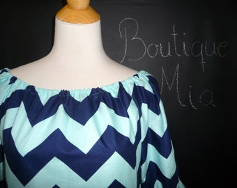 Boatneck DRESS or TOP - Shirred 3/4 length sleeves - Riley Blake - Navy and Aqua Chevron - Made in any Size - Boutique Mia by CXV