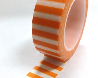 Washi Tape - 15mm - Orange and White Horizontal Stripe - Deco Paper Tape No. 814