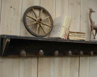 "Wood Coat Rack Shelf Spikes Railroad Spike Coat Hanger Rack Bathroom Towel Hooks Shelf Shelving Wood Rustic Wooden Shelve Entry USA 24"""