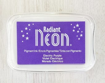 Neon Ink Pad - Radiant Neon Electric Purple Pigment Ink Pad Large - Ink for stamp - Inkpad for Rubber Stamp - Bright Purple Ink - Lilac Ink