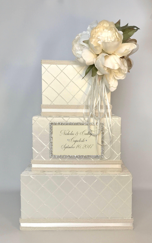 Wedding Card Box with Lock Peony Ivory White Gold Ribbon 3