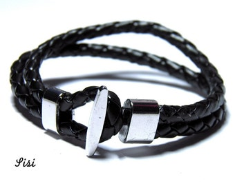 Black braided leather cord bracelet