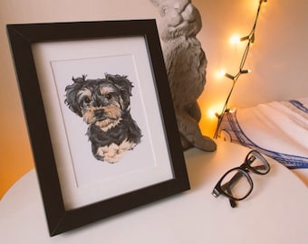 Pet Portrait - Small Custom Illustration - OOAK - Personalised Gift - Caricature - Dogs -Cats - Art - Drawing - Personalised - Frame