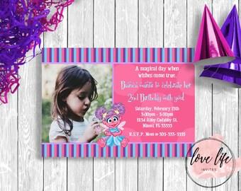 Abby Cadabby Birthday Invitation |Sesame Street Birthday Invitation | Kids Birthday Invitation | Girls Birthday Party | Abby Cadabby Party