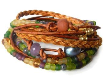 Boho Wrap Bracelet, Leather Wrap Bracelet, Leather Wrap, Beaded Wrap, Leather Bracelet, Wrap Leather Bracelet JEWELRY