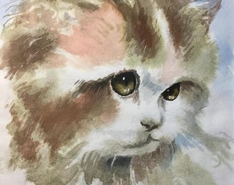 Custom Pet Portrait, ORIGINAL Watercolor Painting, Custom Cat & Dog Painting, Watercolor Painting by Your Photo