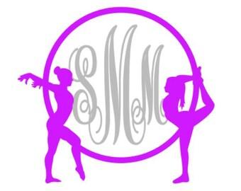 Gymnastics Monogram Vinyl Decal, Gymnast Custom Car Decal, Personalized 3 letter monogram, self applied monogram, personalized decal