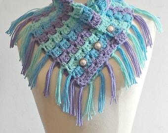 Mermaid Scarf - Crocheted Scarf - Fringe Scarf - Siren of the Sea - Mermaid - Be a Mermaid