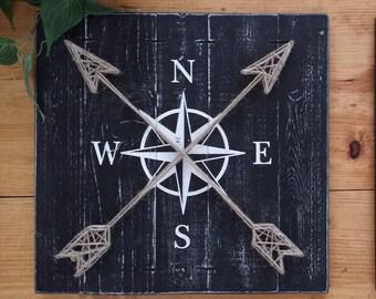 "COMPASS DECOR, 14""x14"", World Travel Decor, String art compass, Compass rose art, nautical string art, nautical art, rustic industrial decor"