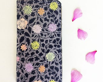 Leather Phone Wallet iPhone 7 Navy Lilac Lavender Blush Case Yellow Blue Pressed Flowers Floral Grey Ivy Vine Pattern Sleeve Cover Her Gift