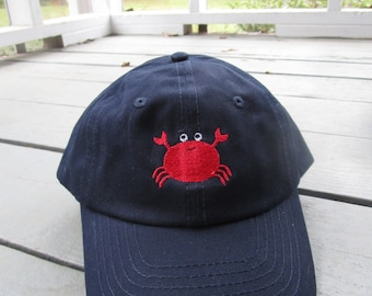 Childs Embroidered Crab Hat with Optional Personalization