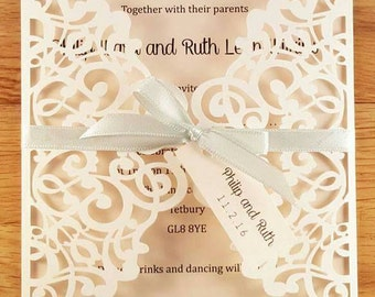 Delicate Laser Cut Gatefold Wedding Invitations Invite *sample*