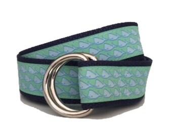 Ribbon Belt/ Woman's D-Ring Belt/ Men's D-Ring Belt/ Canvas Belt/ Preppy Belt/ Cloth Belt/Blue Whale on Green D-Ring Belt